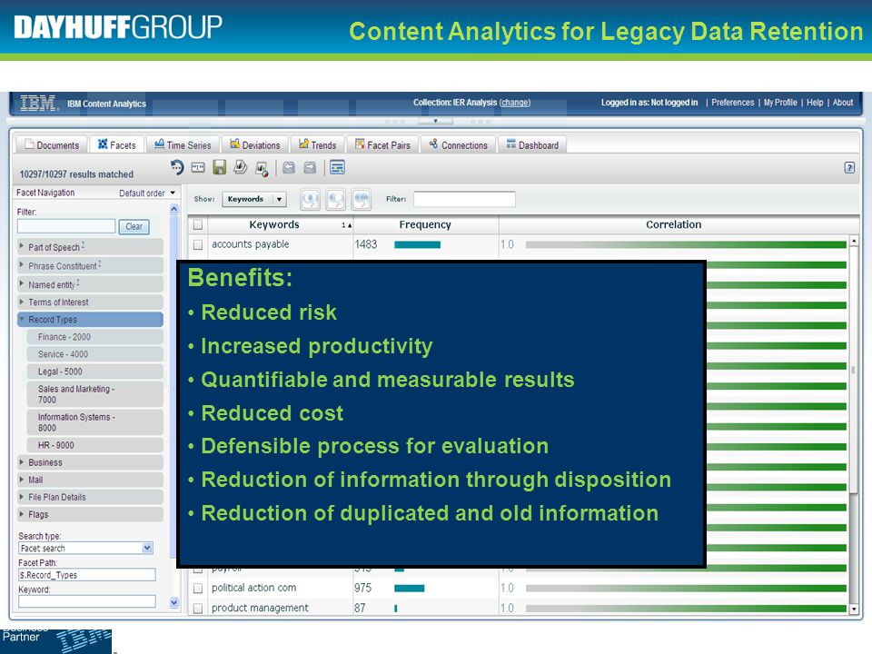 Content Analytics for Legacy Data Retention Benefits: Reduced risk Increased productivity Quantifiable and measurable results Reduced cost Defensible