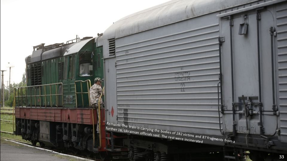 Finally: The refrigerated train carrying the bodies of MH17 crash victims has finally set off from rebel-held Torez in eastern Ukraine four days after