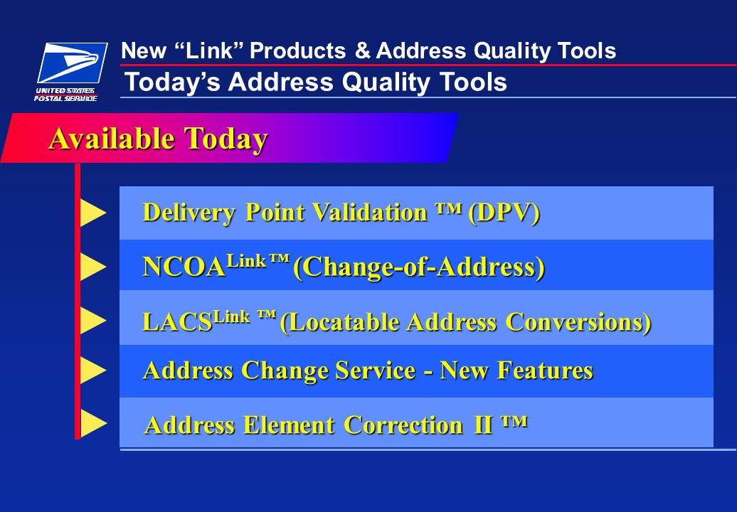 New Link Products & Address Quality Tools Today's Address Quality Tools Address Change Service - New Features Delivery Point Validation ™ (DPV) AvailableToday Available Today NCOA Link ™ (Change-of-Address) LACS Link ™ (Locatable Address Conversions) Address Element Correction II ™