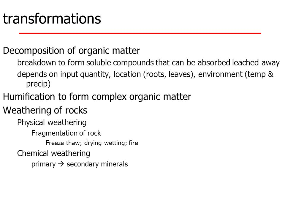 transformations Decomposition of organic matter breakdown to form soluble compounds that can be absorbed leached away depends on input quantity, locat