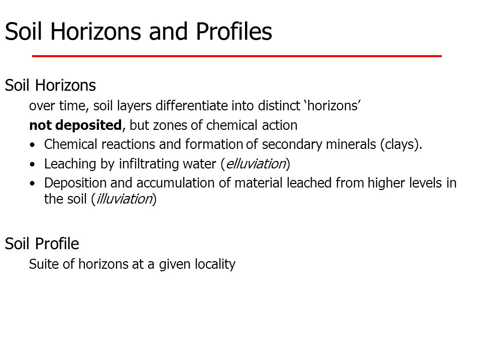 Soil Horizons and Profiles Soil Horizons over time, soil layers differentiate into distinct 'horizons' not deposited, but zones of chemical action Che