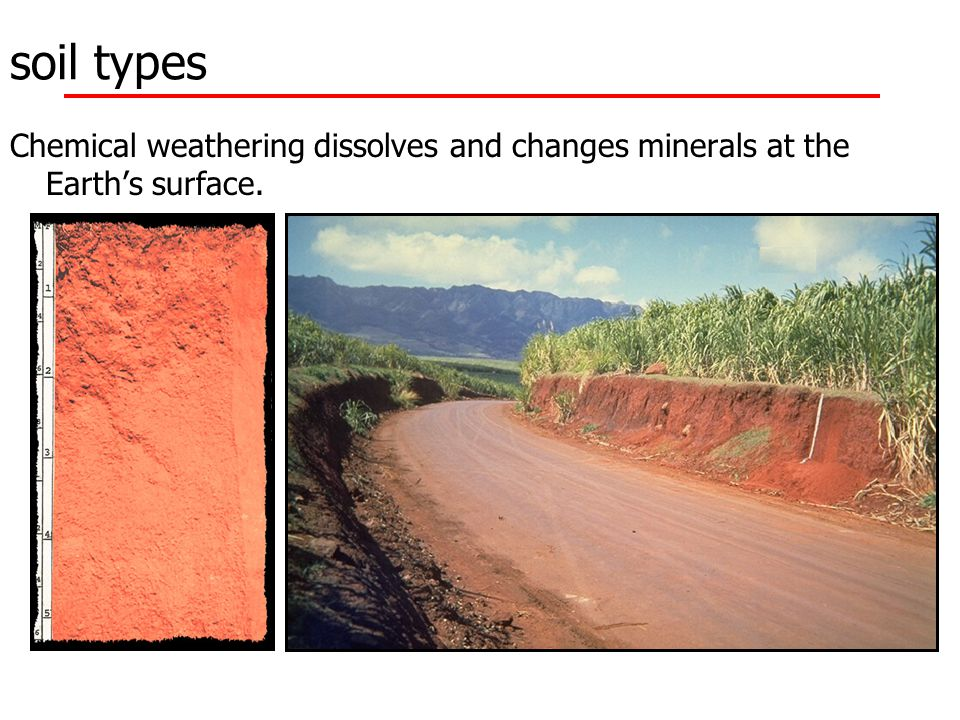 soil types Chemical weathering dissolves and changes minerals at the Earth's surface.