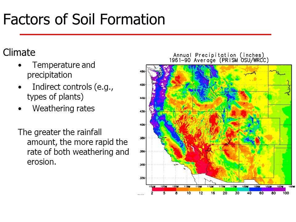 Factors of Soil Formation Climate Temperature and precipitation Indirect controls (e.g., types of plants) Weathering rates The greater the rainfall am
