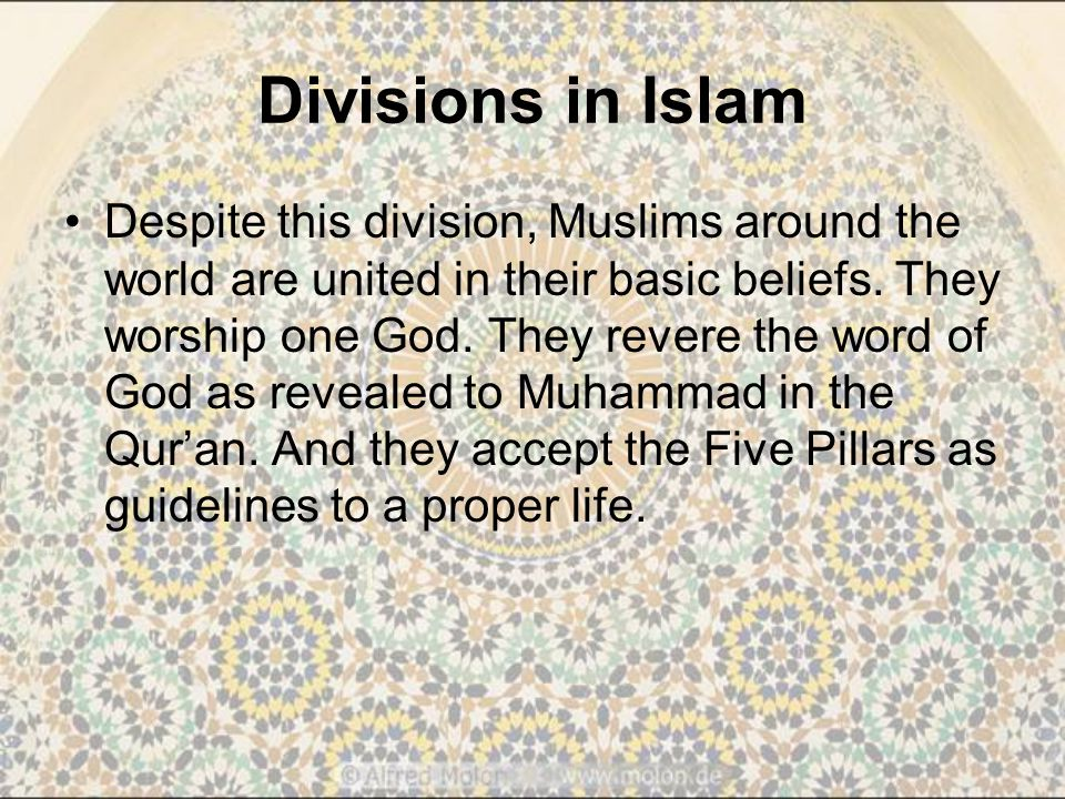 Divisions in Islam Despite this division, Muslims around the world are united in their basic beliefs.