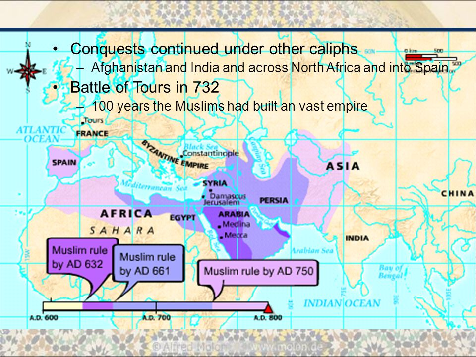 Conquests continued under other caliphs –Afghanistan and India and across North Africa and into Spain Battle of Tours in 732 –100 years the Muslims had built an vast empire