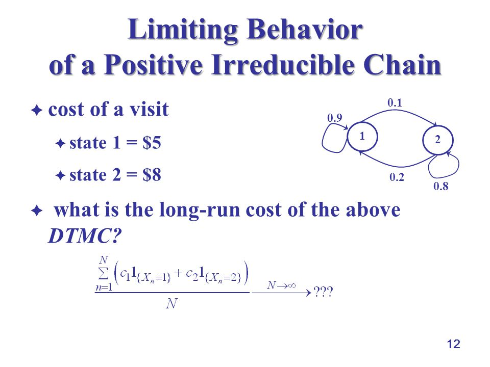 12 Limiting Behavior of a Positive Irreducible Chain  cost of a visit  state 1 = $5  state 2 = $8  what is the long-run cost of the above DTMC? 1