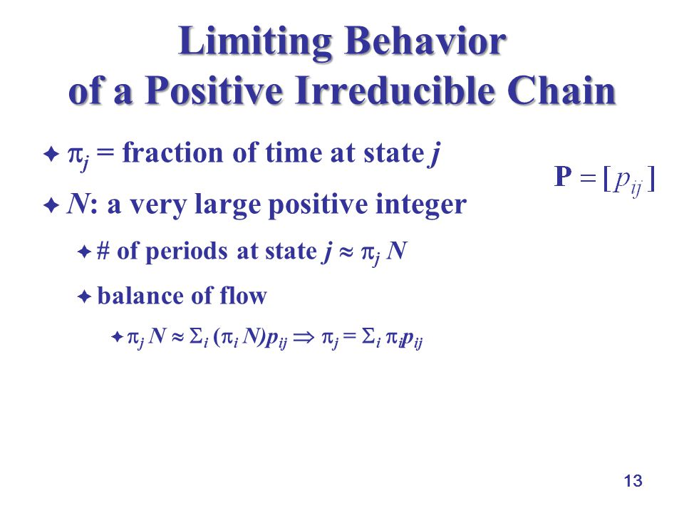 13 Limiting Behavior of a Positive Irreducible Chain   j = fraction of time at state j  N: a very large positive integer  # of periods at state j   j N  balance of flow   j N   i (  i N)p ij   j =  i  i p ij