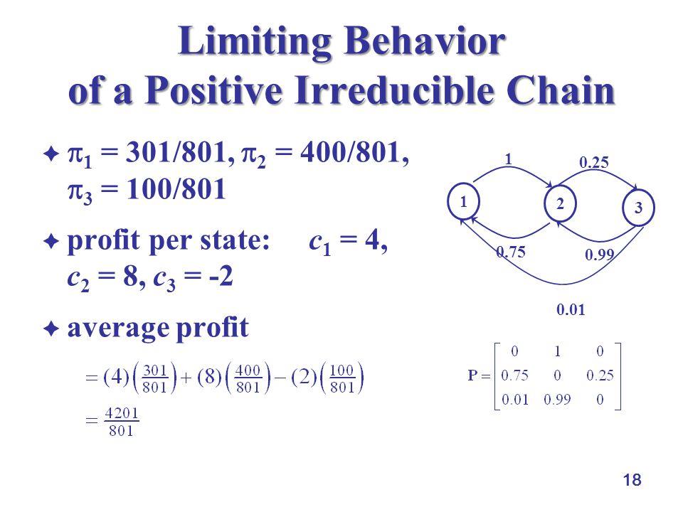 18 Limiting Behavior of a Positive Irreducible Chain   1 = 301/801,  2 = 400/801,  3 = 100/801  profit per state: c 1 = 4, c 2 = 8, c 3 = -2  average profit 1 2 3 0.25 0.99 1 0.75 0.01