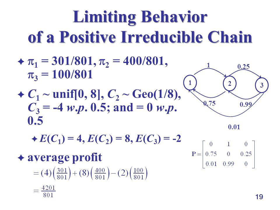 19 Limiting Behavior of a Positive Irreducible Chain   1 = 301/801,  2 = 400/801,  3 = 100/801  C 1 ~ unif[0, 8], C 2 ~ Geo(1/8), C 3 = -4 w.p.