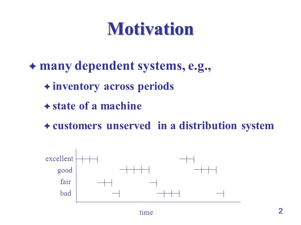 2 Motivation  many dependent systems, e.g.,  inventory across periods  state of a machine  customers unserved in a distribution system time excellent good fair bad