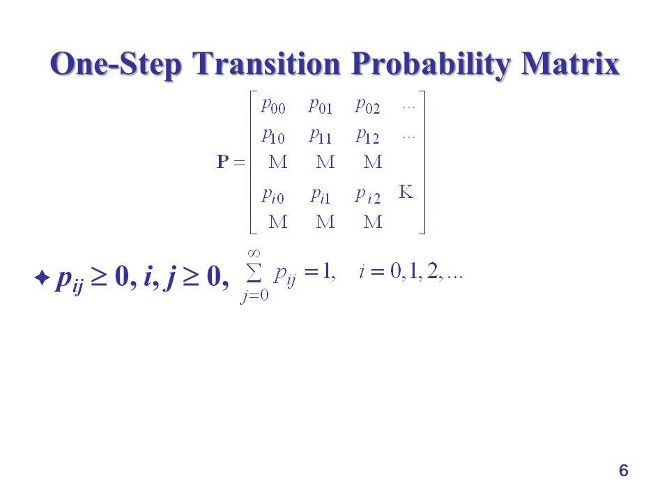 6 One-Step Transition Probability Matrix  p ij  0, i, j  0,