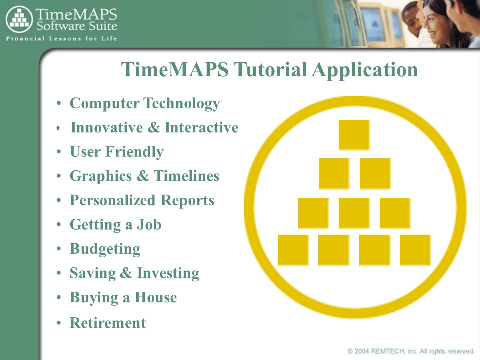 TimeMAPS Tutorial Application Innovative & Interactive User Friendly Computer Technology Graphics & Timelines Personalized Reports Getting a Job Budgeting Saving & Investing Buying a House Retirement