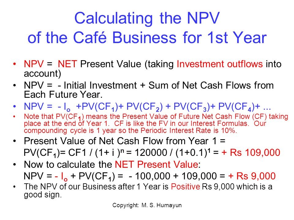 Copyright: M. S. Humayun Calculating the NPV of the Café Business for 1st Year NPV = NET Present Value (taking Investment outflows into account) NPV =