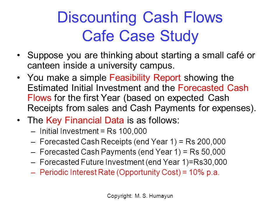 Copyright: M.S. Humayun Cash Flow Diagram Café Example Yr 1 Interest: 10% pa Receipts = Rs.