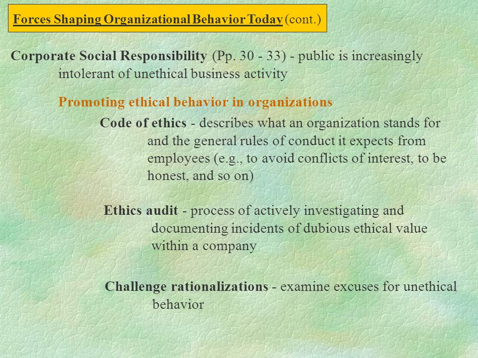 Corporate Social Responsibility (Pp. 30 - 33) - public is increasingly intolerant of unethical business activity Promoting ethical behavior in organiz
