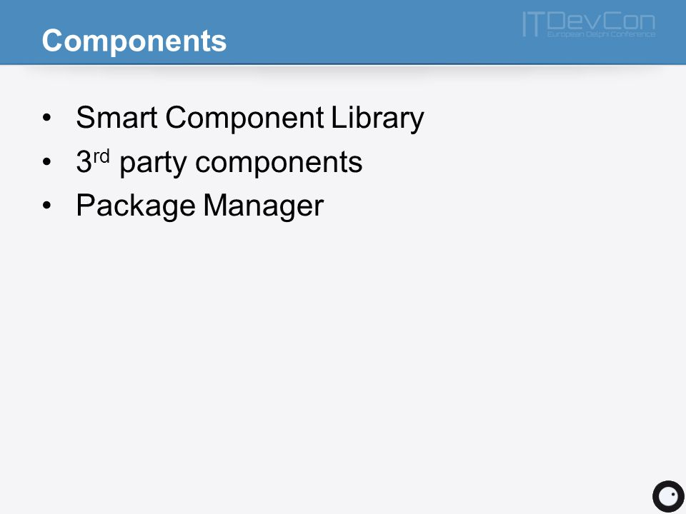 Components Smart Component Library 3 rd party components Package Manager