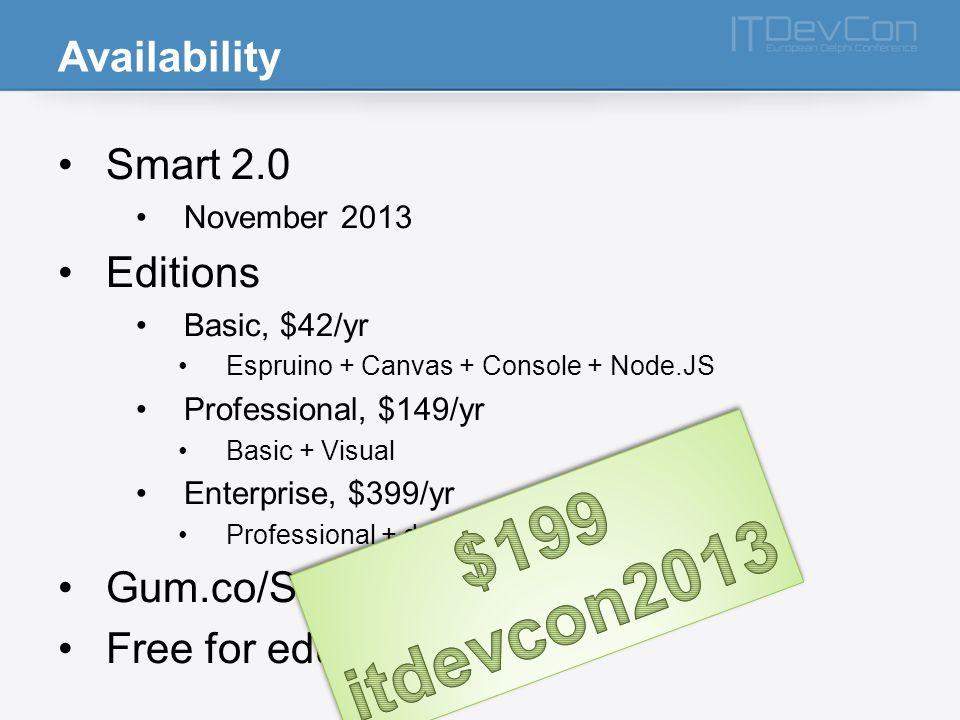 Availability Smart 2.0 November 2013 Editions Basic, $42/yr Espruino + Canvas + Console + Node.JS Professional, $149/yr Basic + Visual Enterprise, $39
