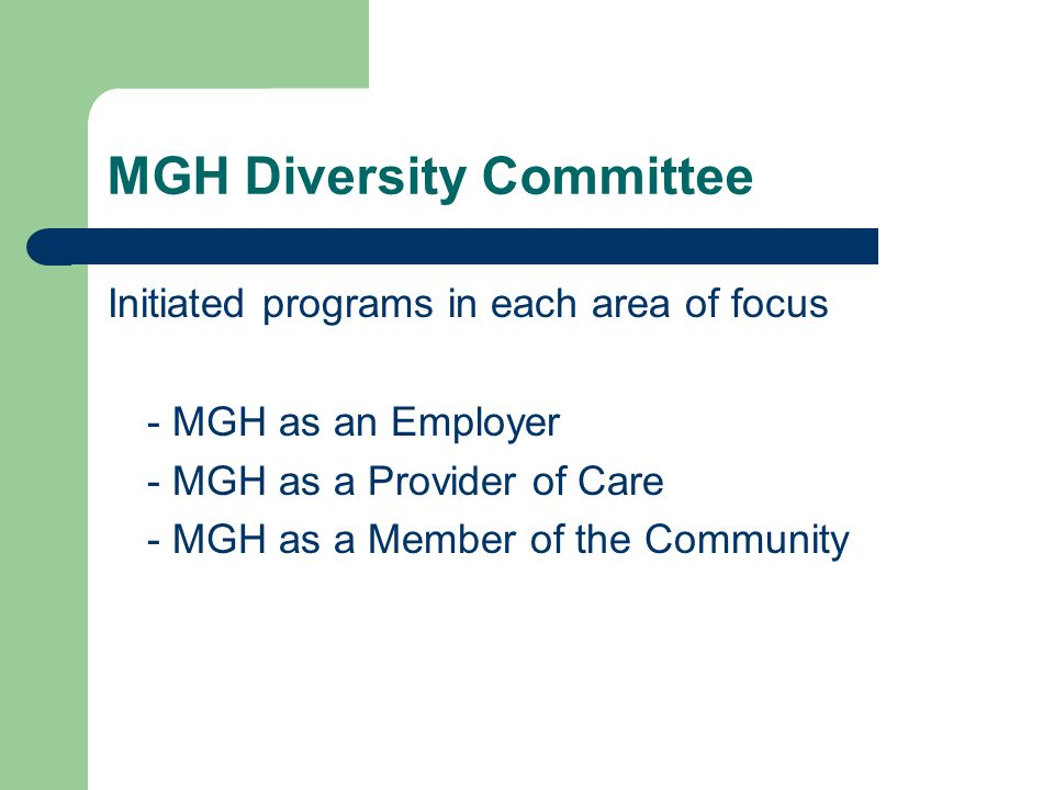 MGH Diversity Committee Initiated programs in each area of focus - MGH as an Employer - MGH as a Provider of Care - MGH as a Member of the Community