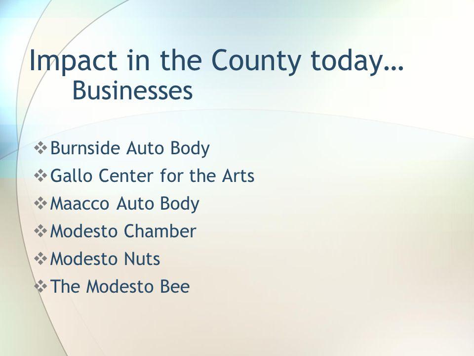 Impact in the County today…  Burnside Auto Body  Gallo Center for the Arts  Maacco Auto Body  Modesto Chamber  Modesto Nuts  The Modesto Bee Bus