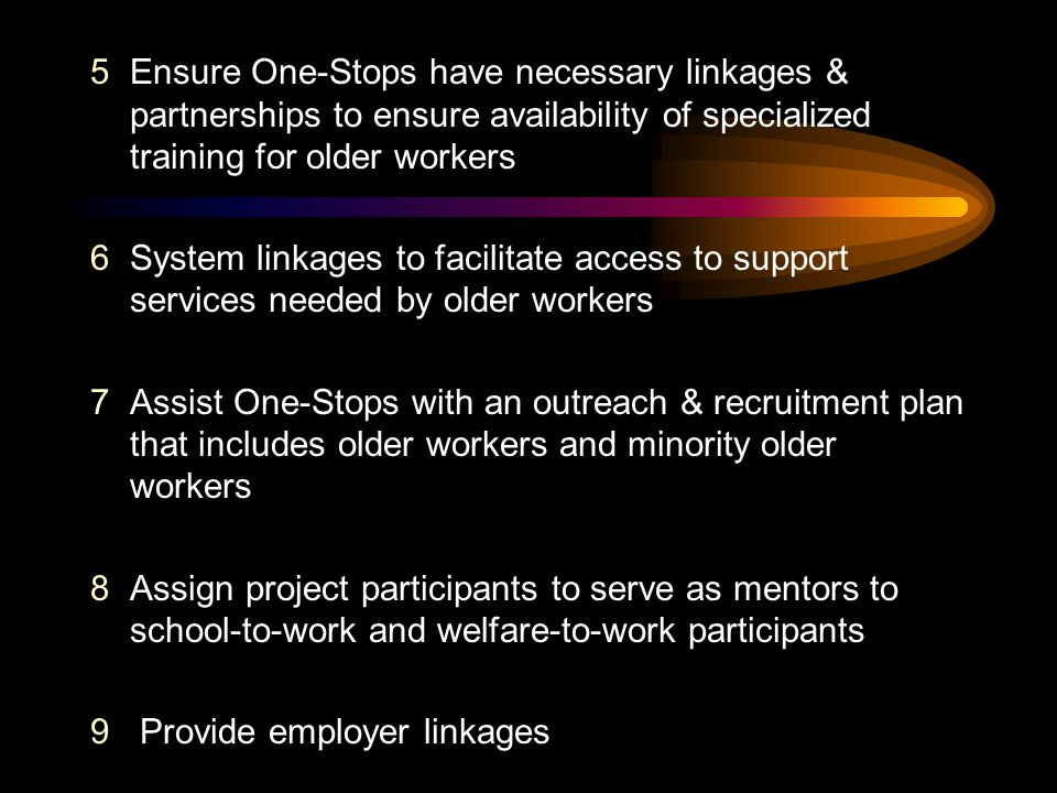 5Ensure One-Stops have necessary linkages & partnerships to ensure availability of specialized training for older workers 6System linkages to facilita