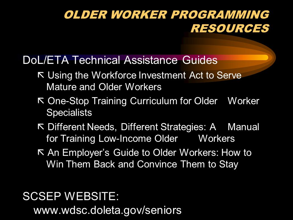 OLDER WORKER PROGRAMMING RESOURCES DoL/ETA Technical Assistance Guides  Using the Workforce Investment Act to Serve Mature and Older Workers  One-St