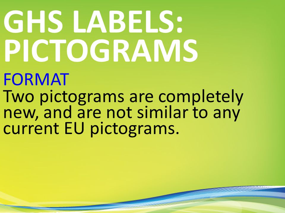 FORMAT Two pictograms are completely new, and are not similar to any current EU pictograms.