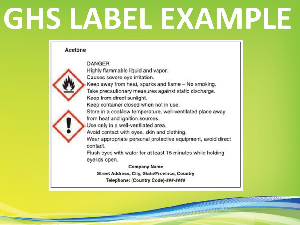 GHS LABEL EXAMPLE