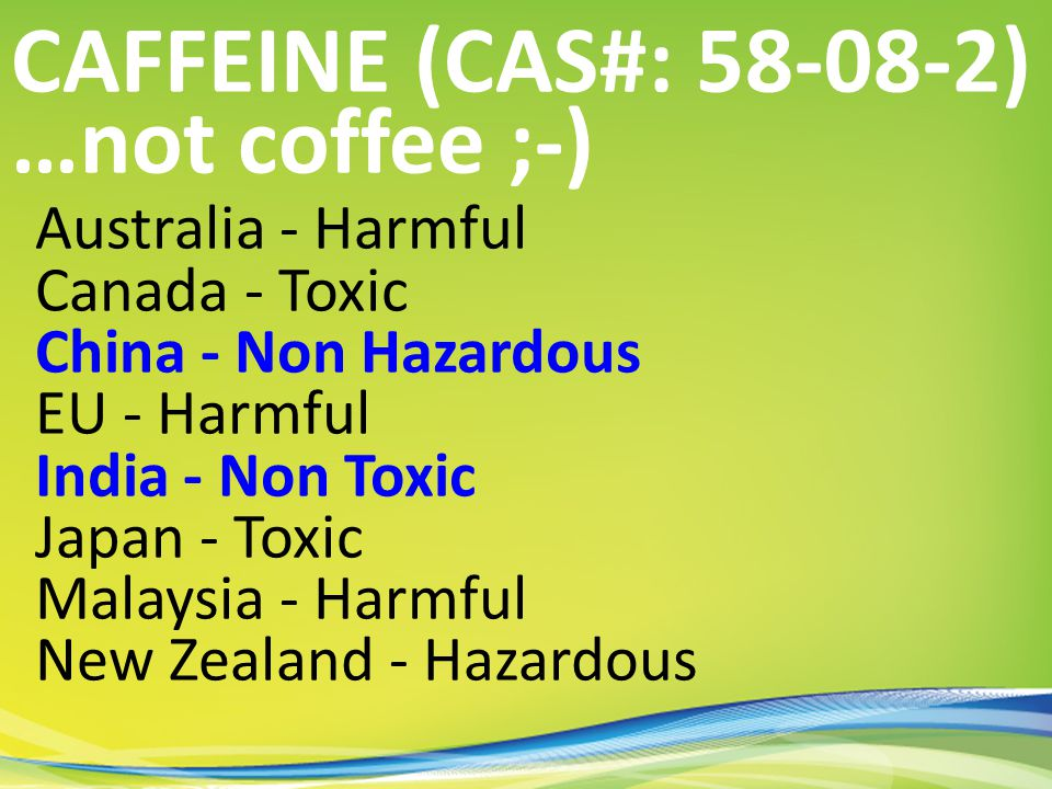 Australia - Harmful Canada - Toxic China - Non Hazardous EU - Harmful India - Non Toxic Japan - Toxic Malaysia - Harmful New Zealand - Hazardous CAFFEINE (CAS#: 58-08-2) …not coffee ;-)