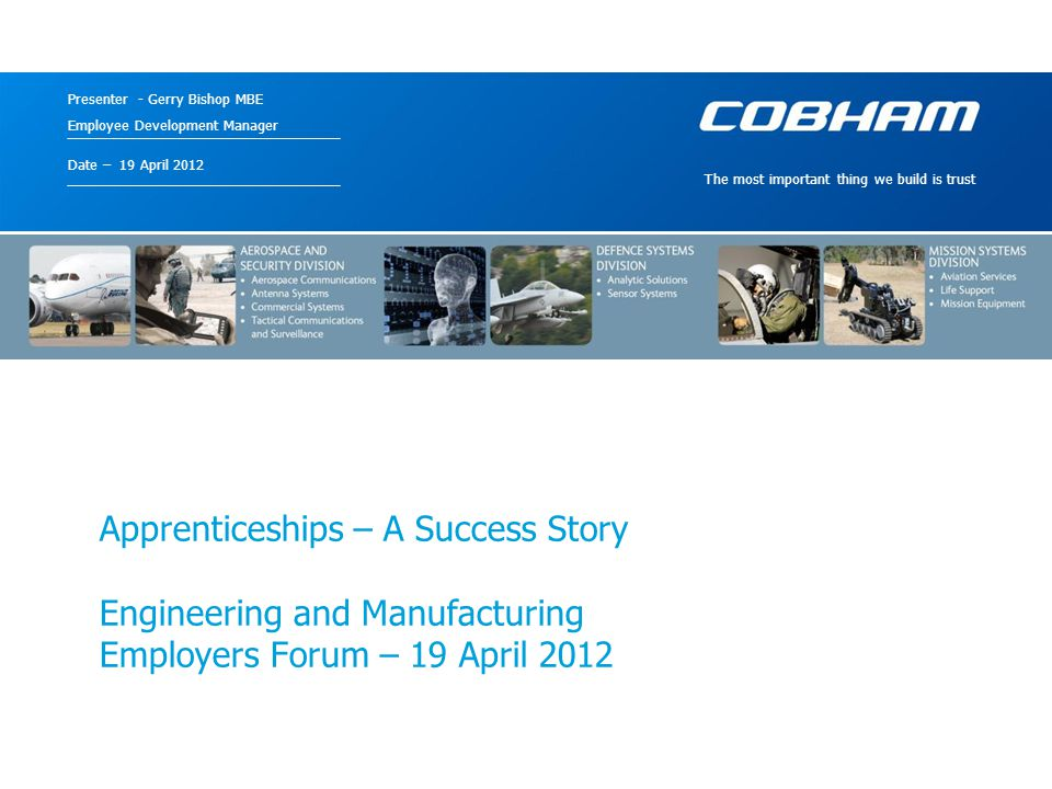 Cobham plc 10 April 2015Document Title12 Honours Degree Masters Degree PhD A Level, National Certificate HND, Foundation Degree HNC GCSE Higher Apprenticeship Advanced Apprenticeship Cobham GDP .