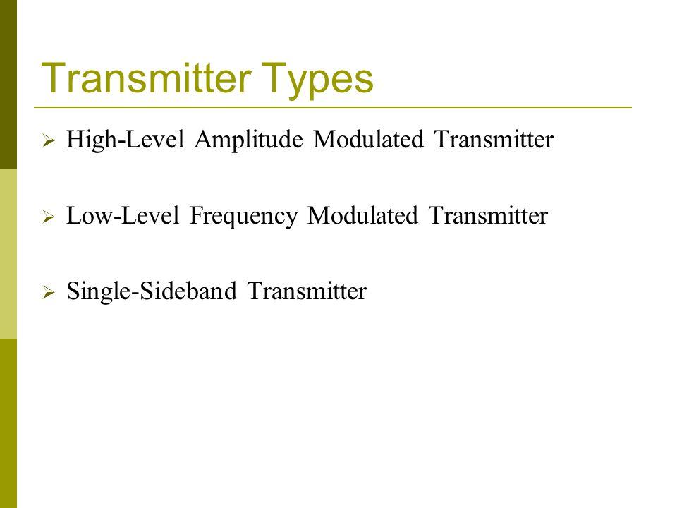 Transmitter Types  High-Level Amplitude Modulated Transmitter  Low-Level Frequency Modulated Transmitter  Single-Sideband Transmitter