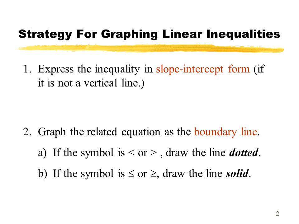 2 Strategy For Graphing Linear Inequalities 1.Express the inequality in slope-intercept form (if it is not a vertical line.) 2.Graph the related equation as the boundary line.