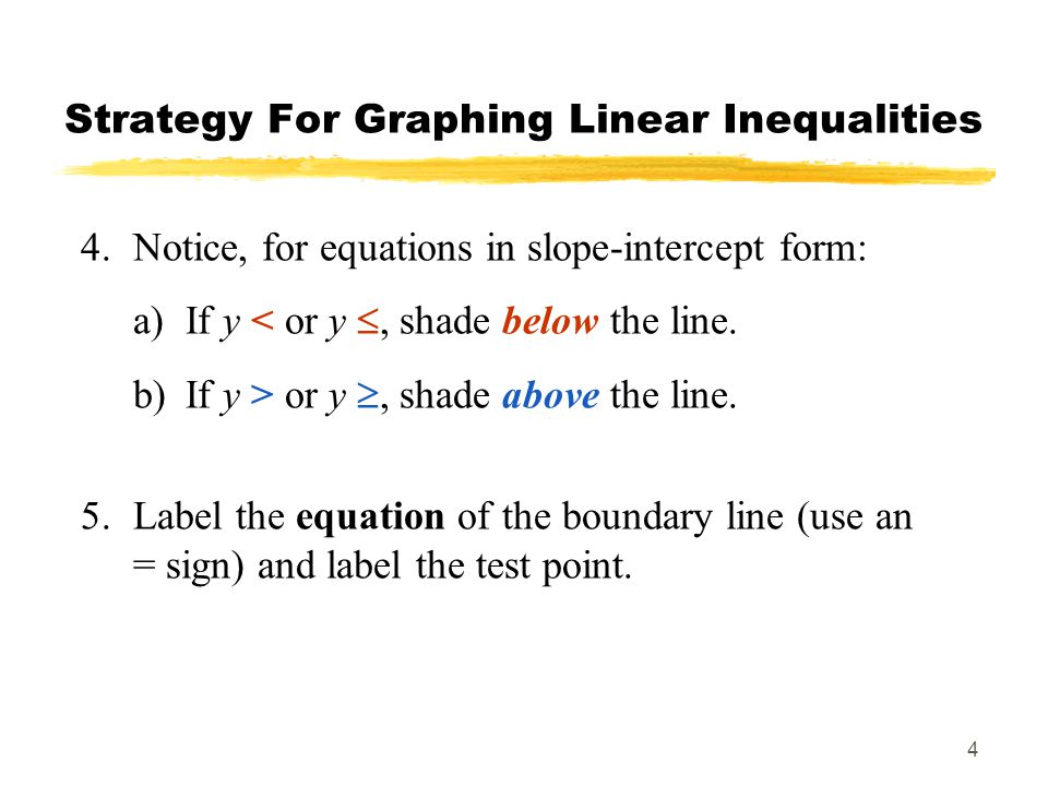 4 Strategy For Graphing Linear Inequalities 4.Notice, for equations in slope-intercept form: a)If y < or y , shade below the line.