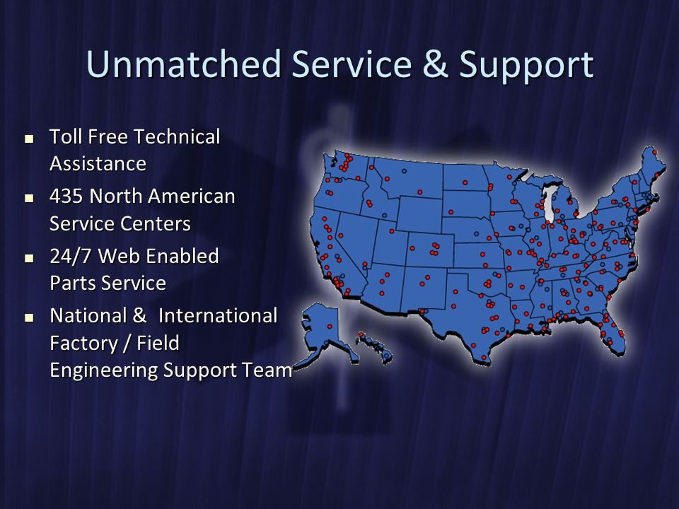 Unmatched Service & Support Toll Free Technical Assistance Toll Free Technical Assistance 435 North American Service Centers 435 North American Service Centers 24/7 Web Enabled Parts Service 24/7 Web Enabled Parts Service National & International Factory / Field Engineering Support Team National & International Factory / Field Engineering Support Team