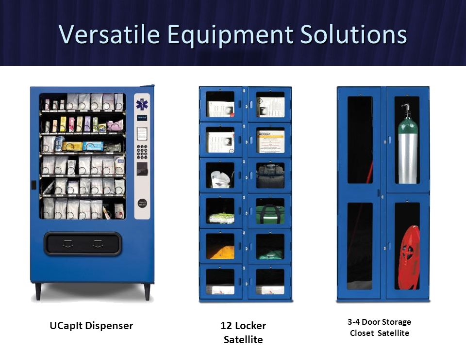 UCapIt Dispenser 12 Locker Satellite 3-4 Door Storage Closet Satellite Versatile Equipment Solutions