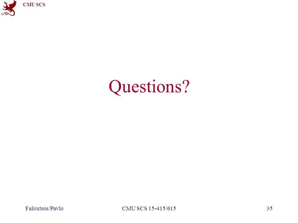 CMU SCS Questions Faloutsos/PavloCMU SCS 15-415/61535
