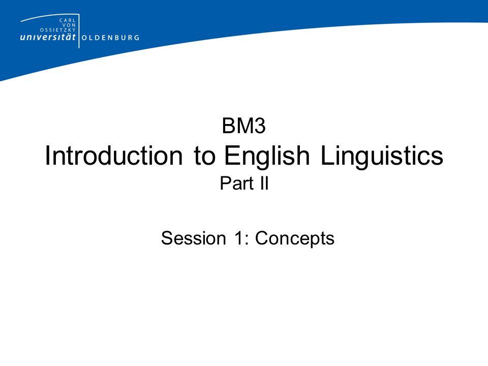 BM3 Introduction to English Linguistics Part II Session 1: Concepts