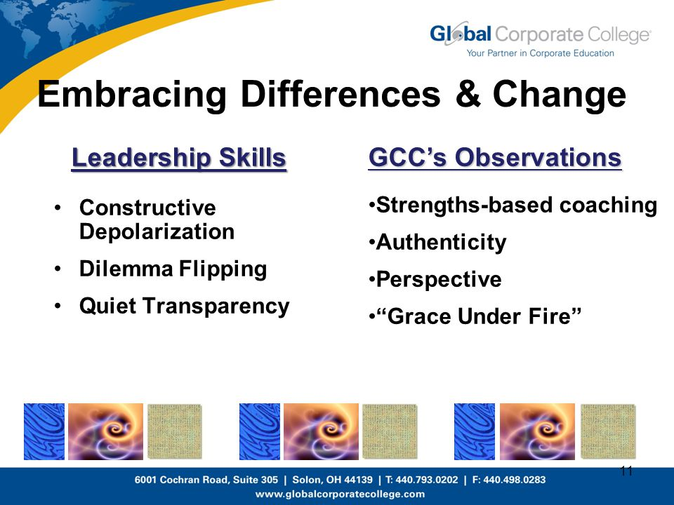 Embracing Differences & Change Leadership Skills Constructive Depolarization Dilemma Flipping Quiet Transparency 11 GCC's Observations Strengths-based