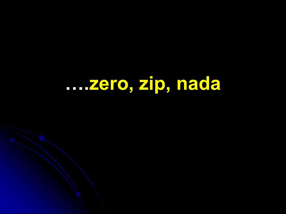 ….zero, zip, nada