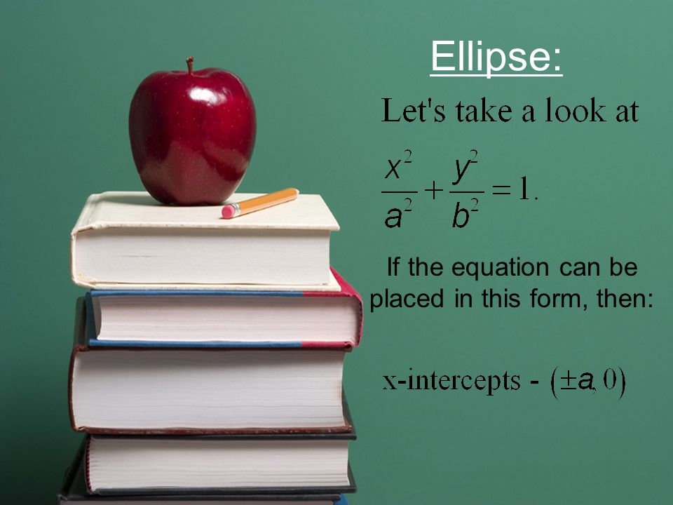 Ellipse: If the equation can be placed in this form, then: