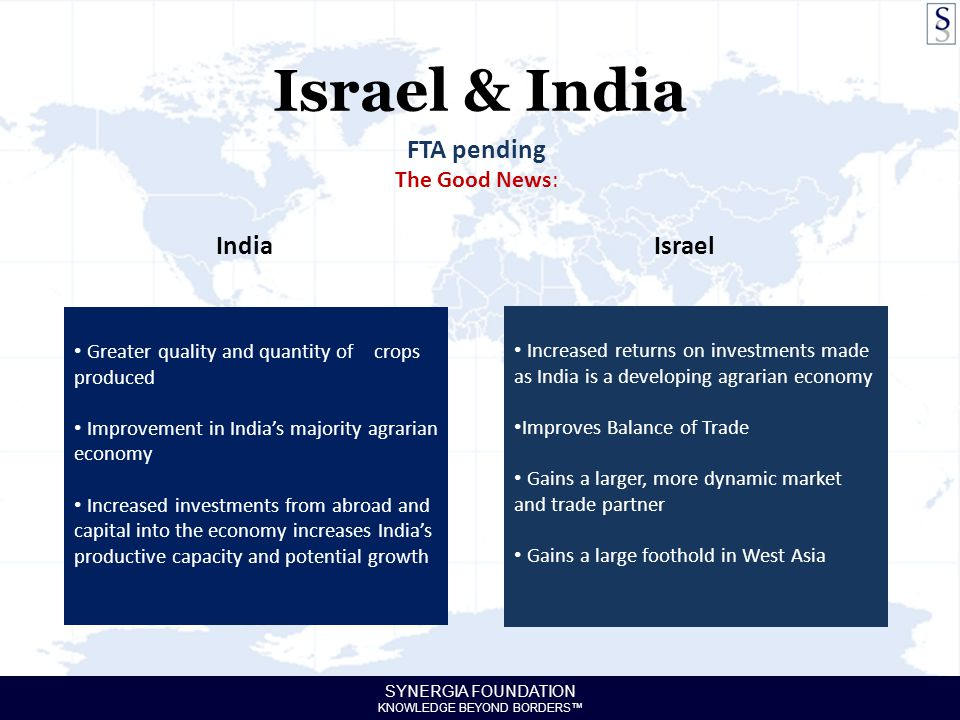 SYNERGIA FOUNDATION KNOWLEDGE BEYOND BORDERS™ Israel & India FTA pending The Good News: India Greater quality and quantity of crops produced Improveme