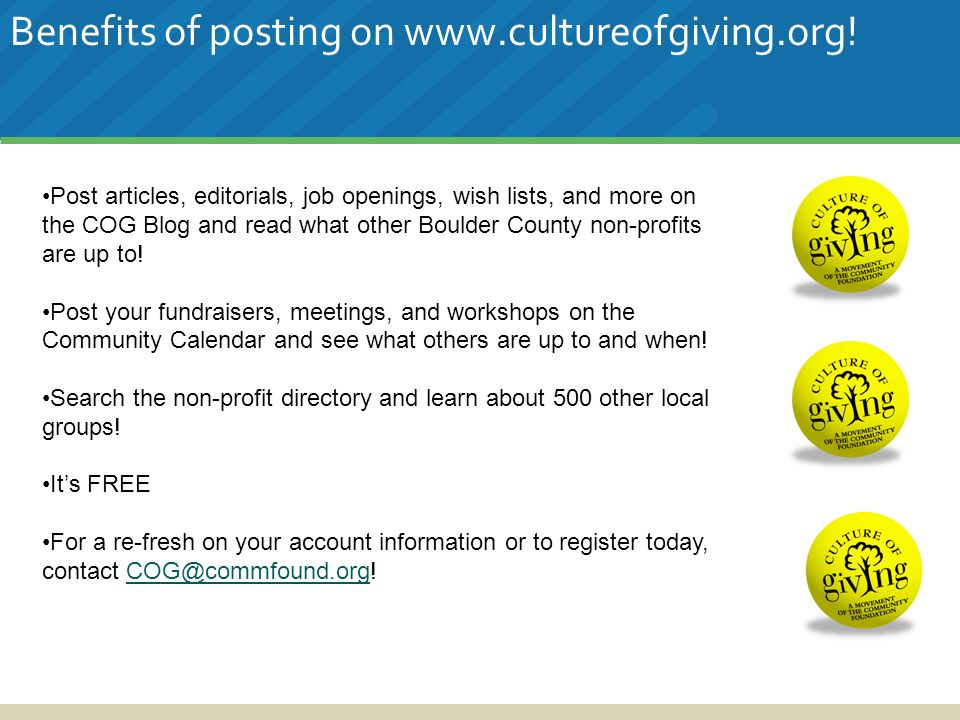 Benefits of posting on www.cultureofgiving.org.