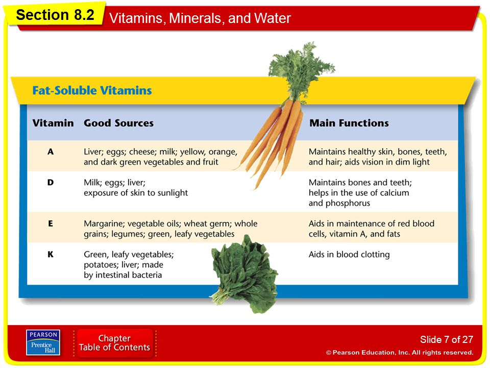 Section 8.2 Vitamins, Minerals, and Water Slide 7 of 27