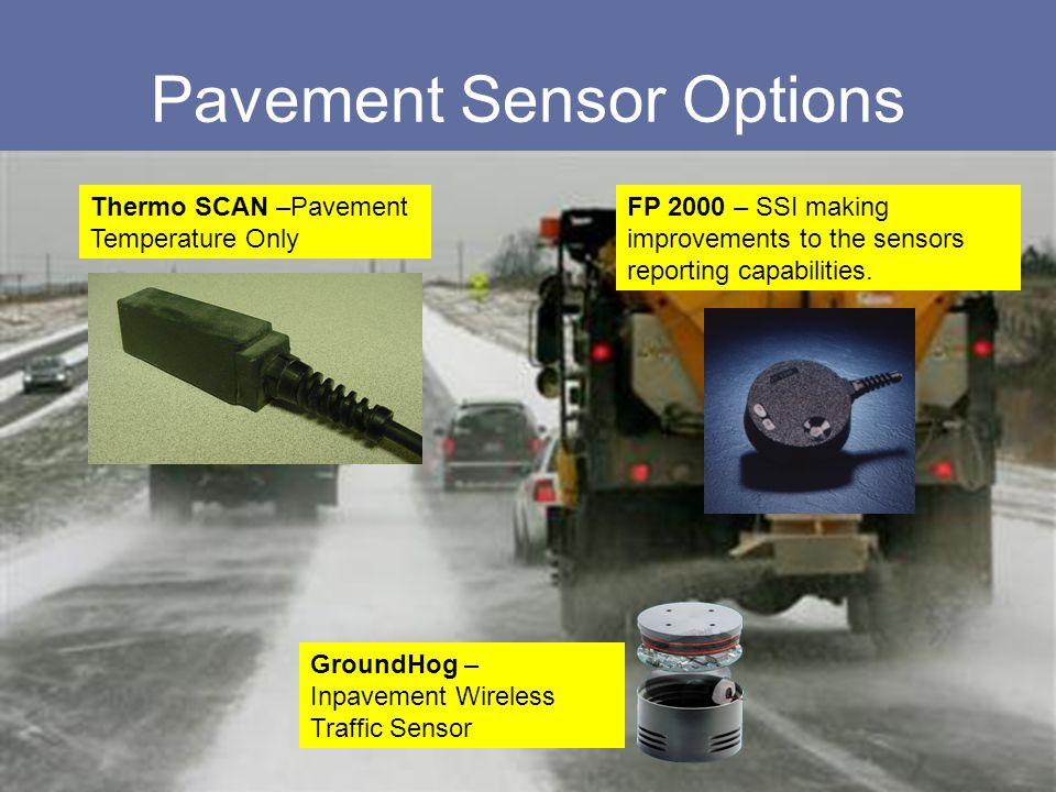 Pavement Sensor Options Thermo SCAN –Pavement Temperature Only GroundHog – Inpavement Wireless Traffic Sensor FP 2000 – SSI making improvements to the