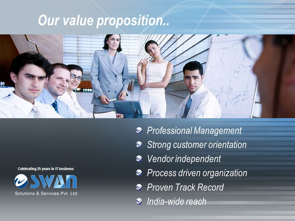 Our value proposition.. Professional Management Strong customer orientation Vendor independent Process driven organization Proven Track Record India-w