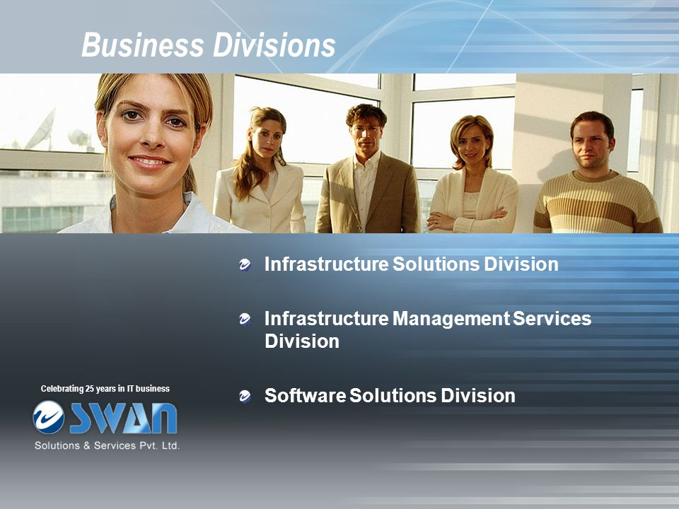 Business Divisions Infrastructure Solutions Division Infrastructure Management Services Division Software Solutions Division Celebrating 25 years in I