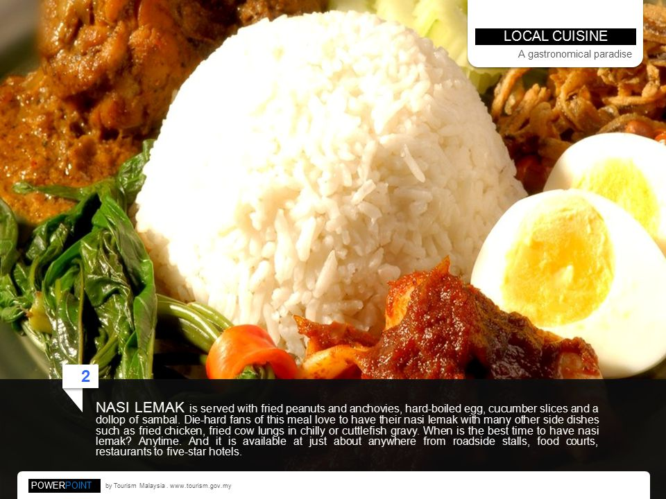 NASI LEMAK is served with fried peanuts and anchovies, hard-boiled egg, cucumber slices and a dollop of sambal.