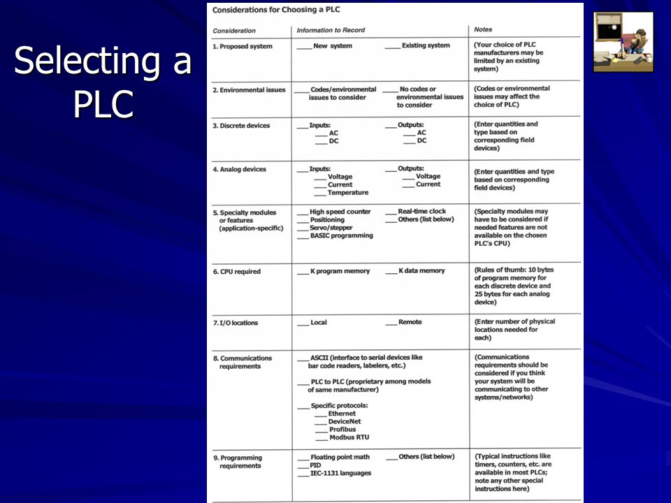 Selecting a PLC