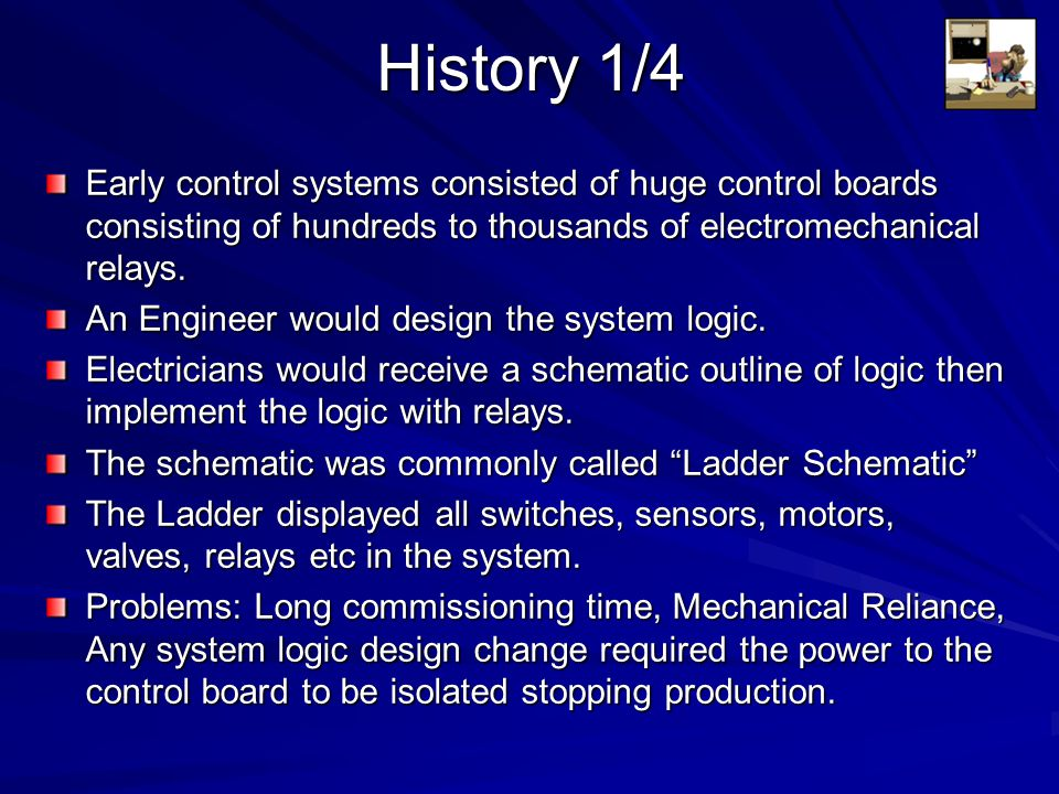 History 2/4 General Motors was among the first to recognise a need to replace the systems wired control board Hydramatic Division of GM specified the design criteria for the programmable controller in 1968.