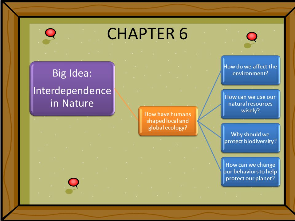 CHAPTER 6 Big Idea: Interdependence in Nature How have humans shaped local and global ecology.