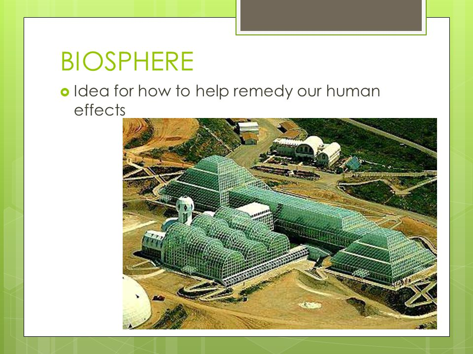 BIOSPHERE  Idea for how to help remedy our human effects